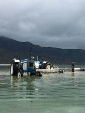 They use tractors to put the boats in the water...