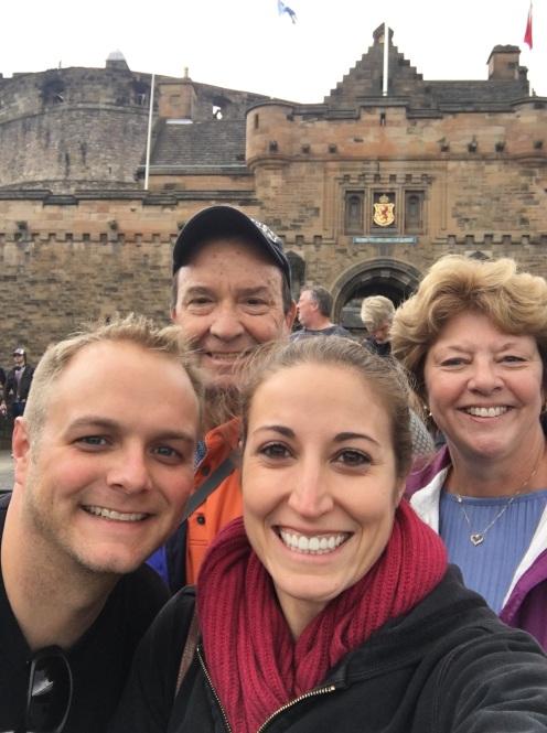 Bunch of scrubs in front of Edinburgh Castle