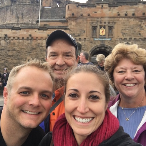 Bunch of scrubs in front of Edinburgh Castle